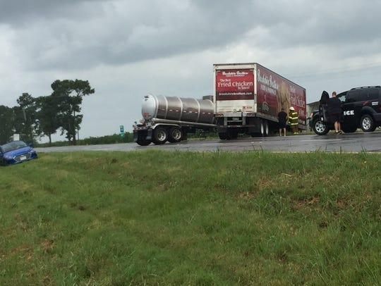 A crash involving two 18-wheelers shut down Interstate