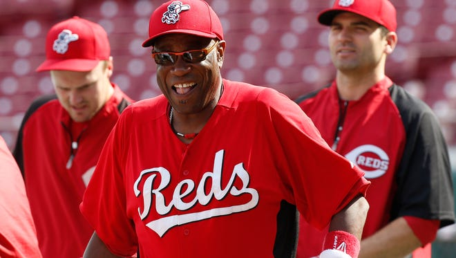 Then-Reds manager Dusty Baker smiles during batting practice in August 2013.