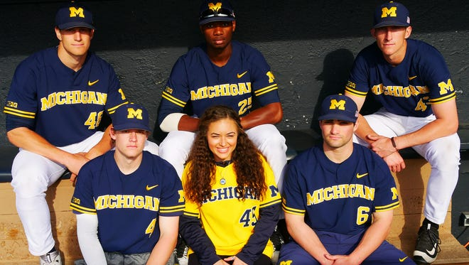 Emily Haydel, granddaughter of Hank Aaron, has been a student manager for the University of Michigan baseball team. She graduated from U-M with a BA in sports management April 29, 2017. She's pursuing a career in broadcast journalism. Top from left, Oliver Jaskie, George Hewitt, Troy Miller. Bottom from left, Brock Keener, Emily Haydel, Joe Pace.