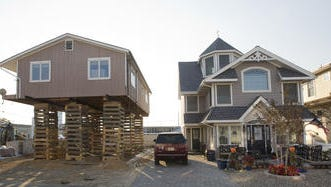 A house being elevated in Ortley Beach.