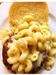 The mac and cheese  burger at The Committed Pig in