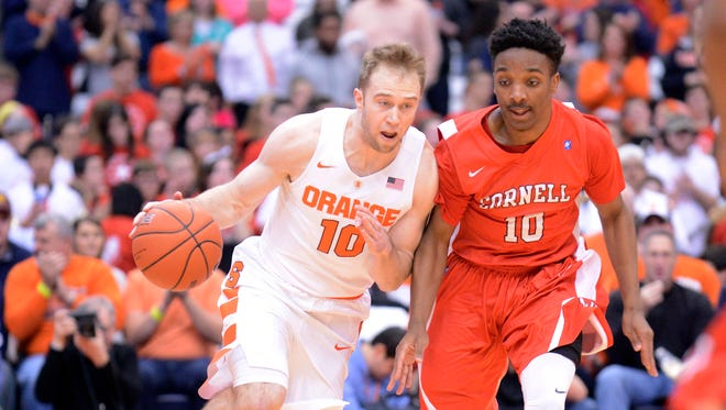 Syracuse Orange guard Trevor Cooney brings the ball up court with Cornell Big Red guard Matt Morgan  defending during the first half of a game at the Carrier Dome on Saturday, Dec. 19, 2015.