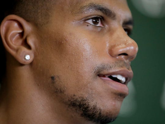 New York Jets wide receiver Terrelle Pryor talks to reporters during NFL football training camp, Friday, July 27, 2018, in Florham Park, N.J. (AP Photo/Julio Cortez)
