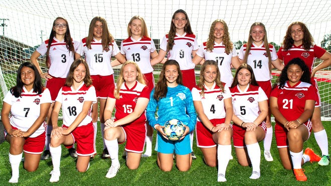 Returning letter winners for the 2020 Sandy Valley girls soccer team are (front row, left to right) Jenny Maioriello, Alexis Rohrer, Ali Winters, Elaina White, Kailey Dennis, Avriel Stephenson and Emma Frazier; and (back row) Kylee Campbell, Alexis Dotson, Lauren Greer, Julie Muller, Emma Mace, Sadie Martin and Lani Mitchell.