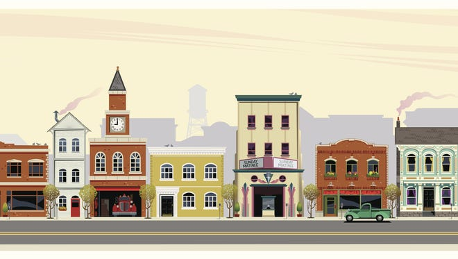An illustrated depiction of shops, restaurants, stores and businesses along a main street in rural America.