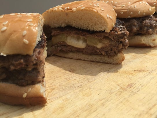 Cheeseburgers with a cheese stuffing in the middle