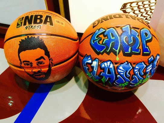 Painted basketballs for the Camp Classic celebrity