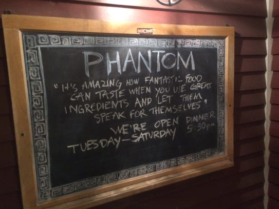 A sign at Phantom in Waitsfield, a restaurant and music