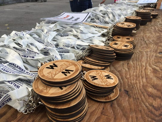 The medals given out for the Walkway Marathon races