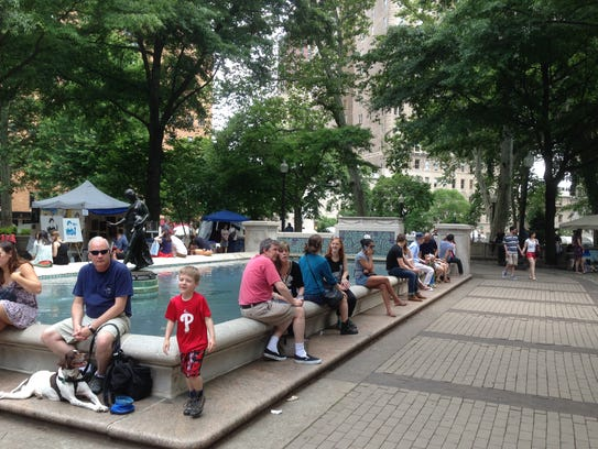 Hanging out at the fountain in Rittenhouse Square is