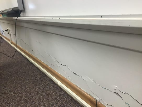 This crack along the wall of a classroom in Longfellow
