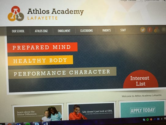 This photo shows the website for Athlos Academies'
