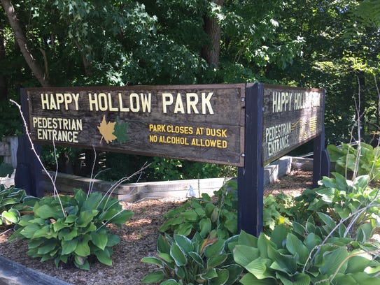 The pedestrian entrance to Happy Hollow Park is now