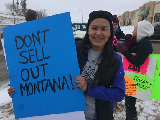 Mia LameBull was among the protestors braving the snow