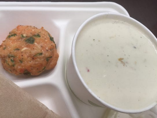 Clam chowder and a salmon patty from The Turnip Truck's