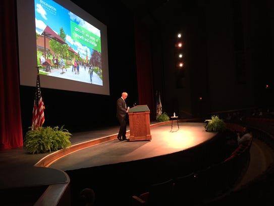Binghamton University President Harvey Stenger delivers