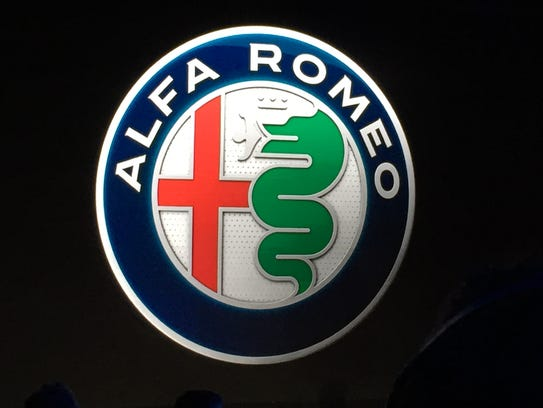 The redesigned Alfa Romeo logo, introduced in Milan,