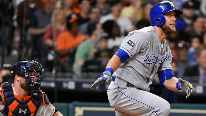 Kansas City Royals' Alex Gordon watches hits his two-run double in the eighth inning of a baseball game against the Houston Astros, Saturday.