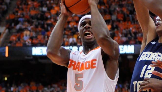 Syracuse forward C.J. Fair takes a shot in a game earlier this year against Georgia Tech at the Carrier Dome.