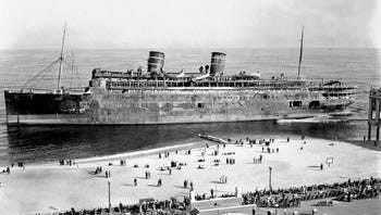 The Morro Castle on the beach just north of Convention Hall, Asbury Park, NJ.