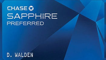 Chase Sapphire Preferred reward card.
