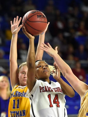 Janiah Sandifer (14) goes up for a shot as Pearl-Cohn plays Gatlinburg-Pittman in the Class AA girls basketball state semifinals  Friday March 10, 2017, in Murfreesboro, TN