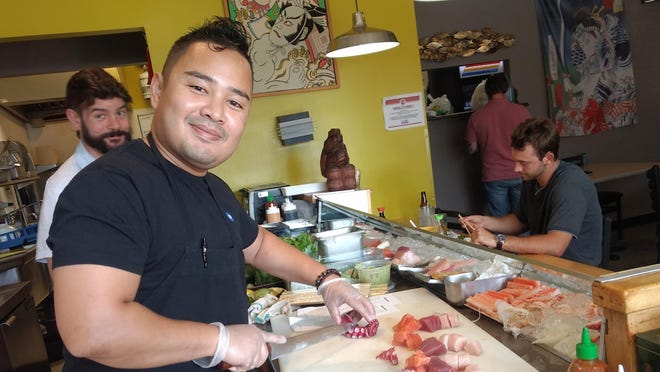 Sushi chef Tin Win at work at Sushi Katsu in Akron.