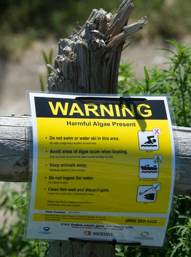 In this June 12, 2018, photo, warning signs near Provo