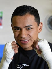 Ricardo Lucio - Galvan gets ready for a possible fight at the pro boxing event at the RSCVA on Friday.