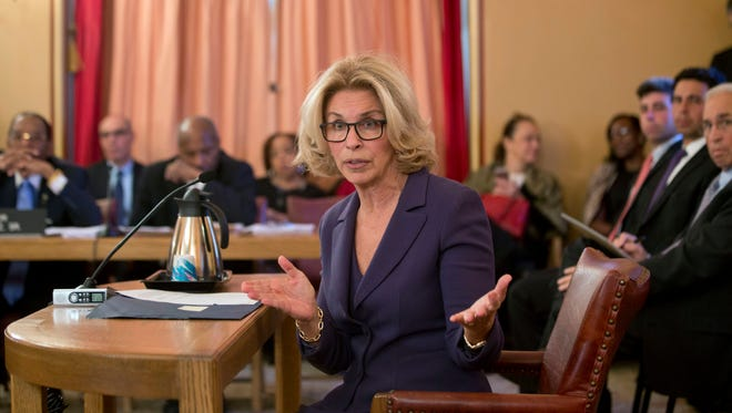 Westchester County District Attorney Janet DiFiore answers a question during a Senate judiciary hearing on her nomination as chief judge of the New York Court of Appeals at the Capitol on Wednesday, Jan. 20, 2016, in Albany, N.Y. (AP Photo/Mike Groll)