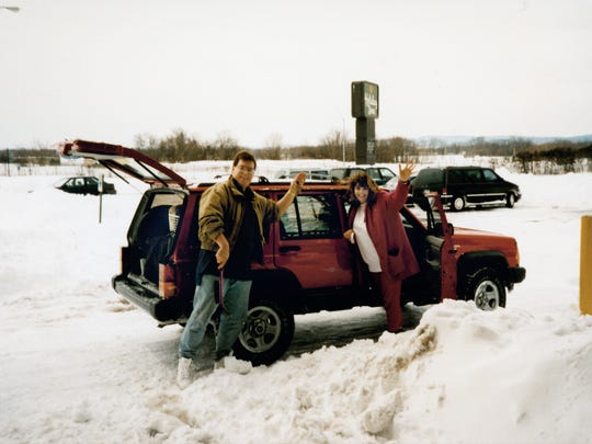 Christopher and Christy Carlson leave for their honeymoon after their snow-filled wedding in March 1993.