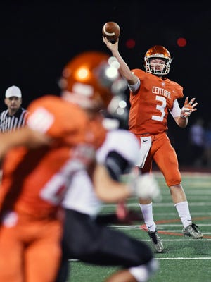 Central York quarterback Cade Pribula connects with Justin Krentz in the second half of a high school football game Friday, Sept. 15, 2017, at Central York. Hempfield defeated Central York 24-21.