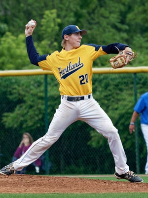 Hartland's Max Hendricks allowed five runs on seven hits in five innings, striking out seven in a 6-0 loss to Lakeland in the regional baseball semifinals on Saturday, June 9, 2018.