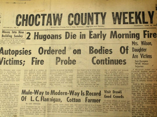 The front page of Choctaw County Weekly on June 20, 1963, the day after Bobby Wilson's mother and sister were found dead in their burned home in Hugo, Oklahoma.