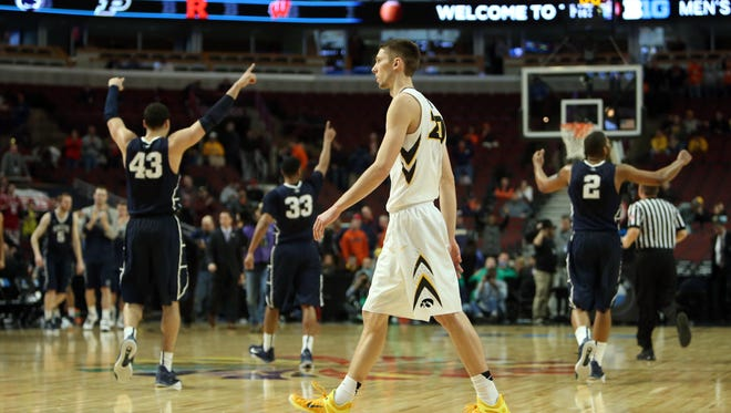 Iowa's Jarrod Uthoff walks off the floor after a 67-58 exit against Penn State at the Big Ten Tournament.