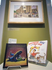 """Works by Harry Bliss are seen on display at """"Draw me at Story - Tell me a Tale"""" an exhibition of Vermont children's books authors and illustrators at the Henry Sheldon Museum in Middlebury on Friday, August 25, 2017."""