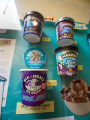 A display of different packaging of Ben & Jerry's Phish Food ice cream, named after the Burlington band, is seen at a new exhibit of posters and artwork from the band's career at the Amy E. Tarrant Gallery in Burlington on Monday, October 2, 2017.
