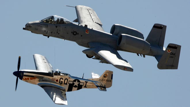 The president's veto on a key defense bill would mothball the A-10 (top, flying with a P-51 Mustang), a key mission at Tucson's Davis-Monthan Air Force Base.