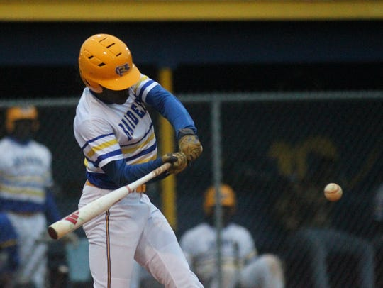 Rickards' Kaleb Henry bats against Franklin County.
