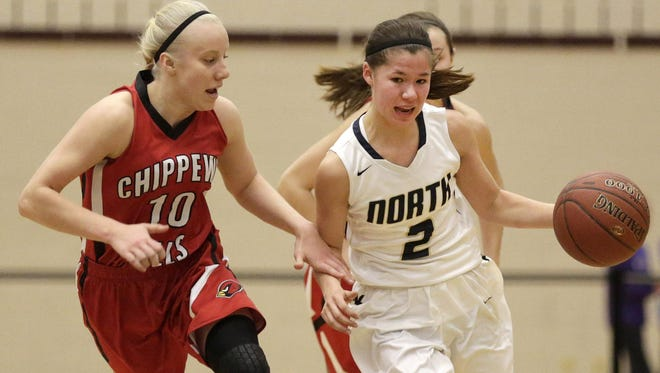 Kari Brekke (right) of Appleton North is one of six Fox Valley players to earn a spot on the Wisconsin Basketball Coaches Association all-state team.
