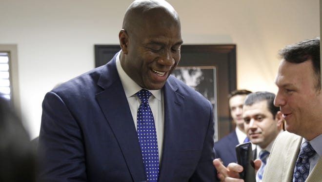Magic Johnson made a visit to Tallahassee Monday to meet with senators about HIV/AIDS legislation.