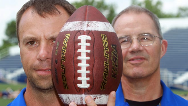 Former Highlands High School football coach Dale Mueller (right) and his successor Brian Weinrich.