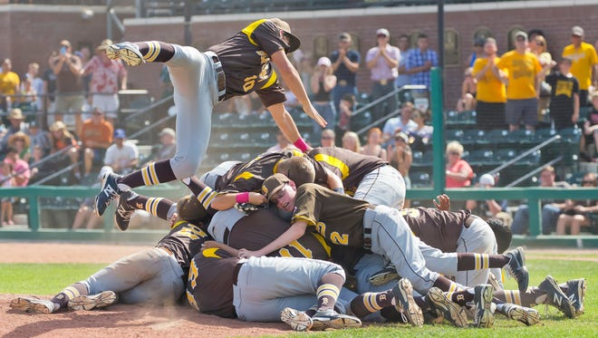 Golden West celebrates winning the Central Section Division III title.