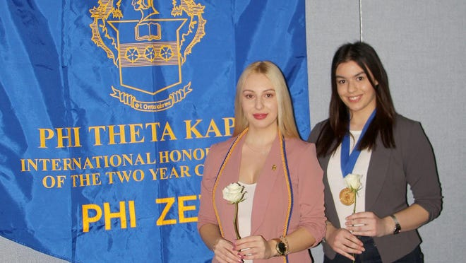 Pratt Community College International students Kalina Todorovska of Skopje, Macedonia and Sonja Killough of Koper, Slovenia were recently inducted into the Phi Theta Kappa Honor Society at PCC. A number of international students attend PCC with many participating on sports teams.