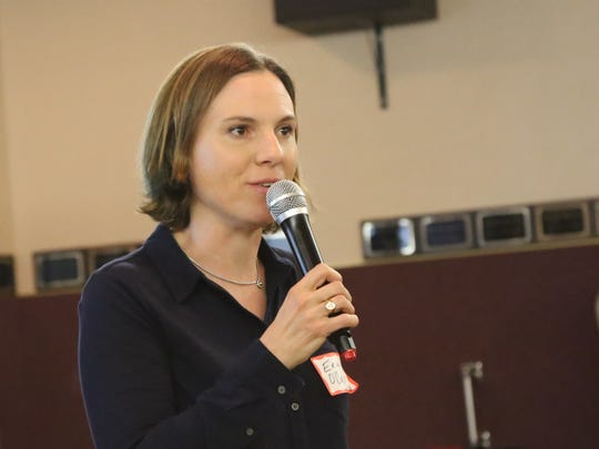 Erin O'Brien, an associate professor and chair of the Biological Sciences Department at Dixie State University, speaks Tuesday at the Southern Utah Community Impact Summit in St. George. O'Brien presented on the eSMART Camp for Girls, a summer camp developed as part of a collaborative program between DSU and the American Association of University Women.