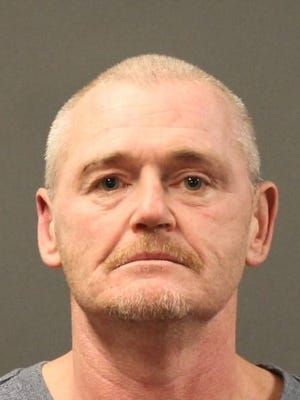 Dennis Baker, 49, is accused of shooting a man in the face with a pellet gun.