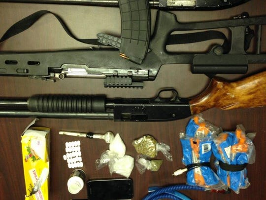 A call to a Campti disturbance resulted in the arrest of a 26-year-old man and the recovery of about 59 grams of crystal meth, other drugs and three firearms, according to a release.