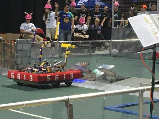 A robot field game takes place at the FIRST Robotics Competition regional tournament in Lubbock, Texas April 1-3. Alamogordo's Team Thunderdogs #5613 came in fifth place out of 40 teams.