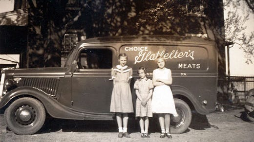 There was a time in the early to mid-20th century when four butcher shops operated in Windsor borough in southeastern York County. Windsor resident Nelson Glatfelter, one of those butchers, used this truck to deliver meat to his customers.