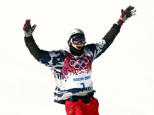 Nicholas Goepper (USA) reacts in the men's ski slopestyle final during the Sochi 2014 Olympic Winter Games at Rosa Khutor Extreme Park.